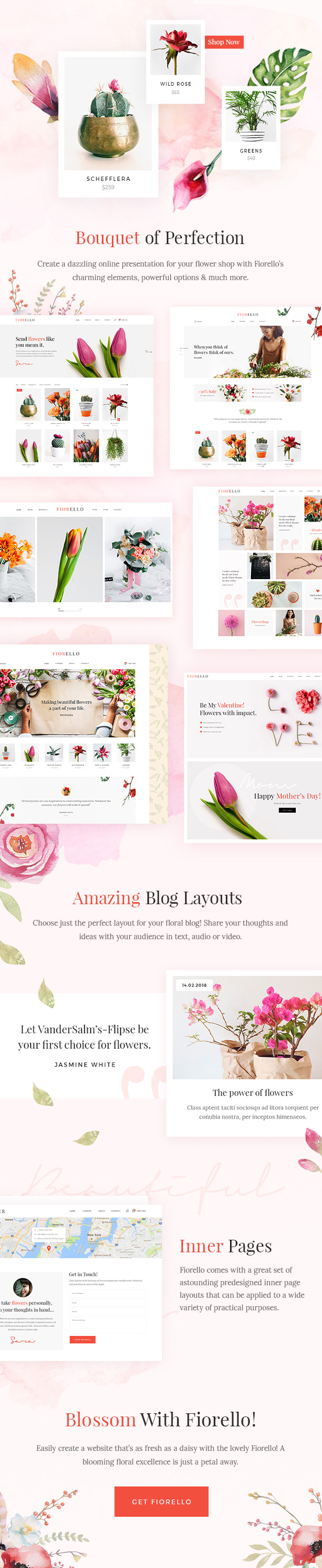 WordPress theme Fiorello - A Flower Shop and Florist WooCommerce Theme (WooCommerce)